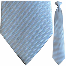 Men's Silk Woven Blue + Grey Striped Clip On Tie