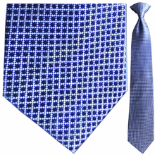 Men's Silk Woven Blue + White Grid Pattern Clip-On Tie