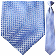Men's Silk Woven Blue Boxes + White Grid Pattern Clip-On Tie