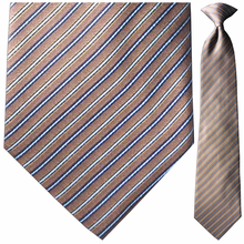 Men's Silk Woven Brown & BLue Striped Tie