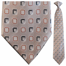 Men's Silk Woven Brown Box Pattern Clip-On Tie