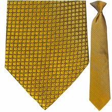 Men's Silk Woven Golden Box Pattern Clip-On Tie