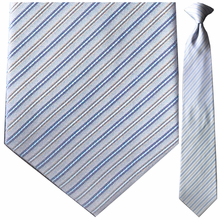 Men's Silk Woven Light Blue & Gold Pin Striped Tie