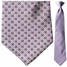 Men's Silk Woven Maroon and Purple Circular Pattern Tie