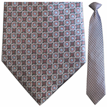 Men's Silk Woven Maroon & light blue Circular Pattern Tie