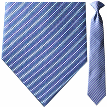 Men's Silk Woven Navy & Purple Pinstriped Tie