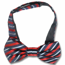 Men's Silk Woven Red & Blue Striped Adjustable Bow Tie