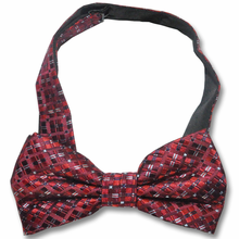 Men's Silk Woven Red Grid Pattern Adjustable Bow Tie