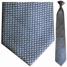 Men's Silk Woven Gunmetal Box Pattern Clip-On Tie