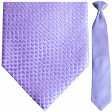 Men's Silk Woven Violet Box Pattern Clip-On Tie