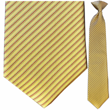 Men's Silk Woven Yellow + Red Striped Clip On Tie