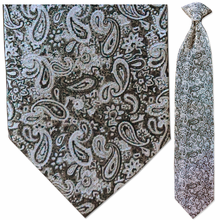 Men's Woven Silver Paisley Clip-On Tie