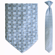 Men's Skinny 100% Silk Blue Geometric Pattern Clip on Tie