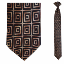 Men's Skinny 100% Silk Brown & Black Geometric Pattern Clip on Tie