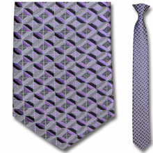 Men's Skinny Woven Purple Diamond Grid Pattern Clip-On Tie