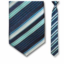 Men's Skinny Woven Polyester Navy Striped Clip-On Tie