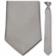 Men's Skinny Woven Silk Light Grey Pin Striped Clip-On Tie