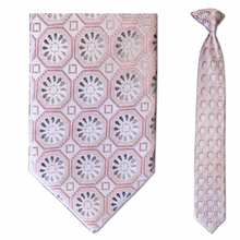 Men's Skinny Silk Pink + Grey Geometric Pattern Clip on Tie
