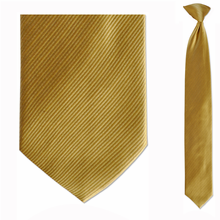 Men's Skinny 100% Silk Solid Yellow Clip on Tie