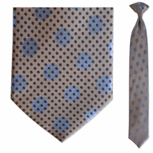 Men's Skinny 100% Silk Tan & Blue Pattern Clip on Tie