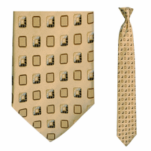 Men's SKINNY Silk Tan + Champagne Box Pattern Clip On Tie