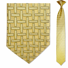 Men's Skinny 100% Silk Yellow Geometric Pattern Clip on Tie