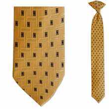 Men's Skinny 100% Silk Yellow Pattern Clip-on Tie