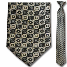 Men's Skinny Woven Bronze Pattern Clip-On Tie