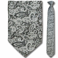 Men's Skinny Woven Silver Paisley Clip-On Tie