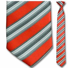 Men's Skinny Woven Red and White Striped Clip-On Tie