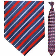 Men's Skinny Silk Woven Red + Navy w/ Light Blue Stripes Clip-On Tie