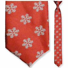 Men's Skinny Woven Red Winter Snowflake Clip-On Tie