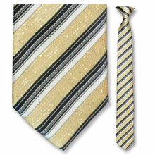 Men's Skinny Woven Sparkling Gold Striped Clip-On Tie