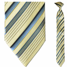 Men's Skinny Silk Woven Light Yellow + Blue Striped Clip-On Tie