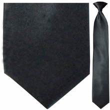 Men's Solid Satin Black Clip-On Tie