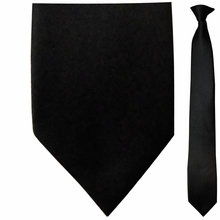 Men's Solid Black Skinny Clip On Tie