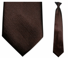 Men's Solid Brown Clip-On Tie