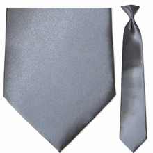 Men's Solid Grey Clip-On Tie