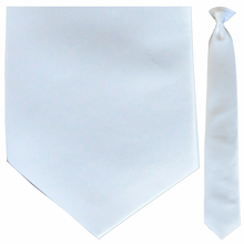 Men's Solid Satin White Clip-On Tie