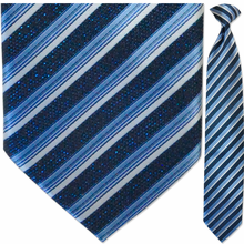 Men's Sparkling Blue + White Striped Clip On Tie