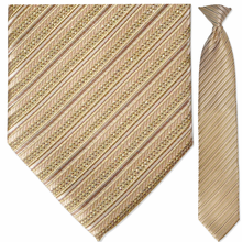 Men's Sparkling Gold Multi-Striped Clip On Tie