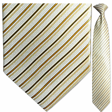 Men's Sparkling White + Gold Striped Necktie