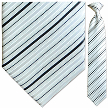 Men's Woven Sparkling White Stripe Clip On Tie