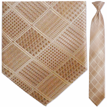 Men's Tan Grid Pattern Clip-On Tie