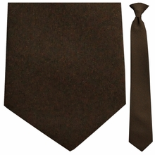 Men's Solid Brown Uniform Clip-on Necktie