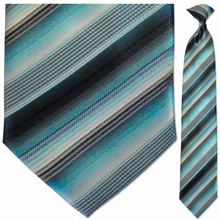 Men's Woven Aquamarine Striped Clip On Tie