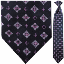 Men's Woven Black + Pink Pattern Clip-On Tie