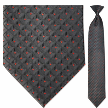 Men's Woven Black + Red Square Pattern Clip-On Tie