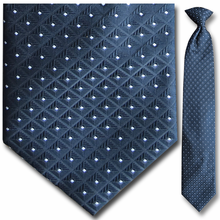 Men's Woven Black and White Square Pattern 17 inch Clip-On Tie