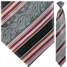 Men's Woven Black & Grey Paisley with Red Stripes Tie